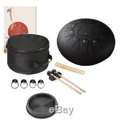 12Inch Drum 11 Tone Steel Tongue Percussion Drum Instrument With Carry Bag