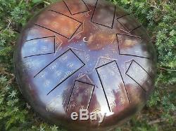 12 10 notes Steel Tongue drum Night city Tankdrum, handpan, steel tongue drum