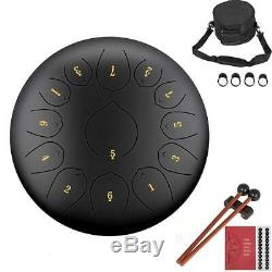 12 Inch 13 Note Stainless Steel Tongue Drum Handpan Mallets Carry Bag Note Stick