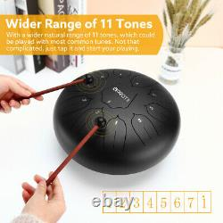 12 Inch Tongue Drum 11 Notes Steel Drum With Music Book Travel Bag Mallets Black