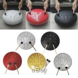 12'' Steel Tongue Drum 11 Note Handpan Percussion with Drum Mallets Carry Bag