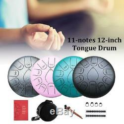 12'' Steel Tongue Drum 11 Notes Handpan Hand Tankdrum With Mallets Bag Yoga