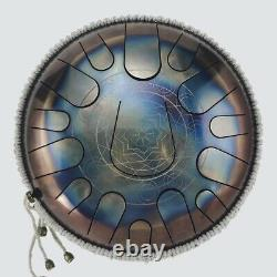 12'' Steel Tongue Drum 15 Notes C Minor Scale Handpan Hand Tankdrum+ Bag&Mallets