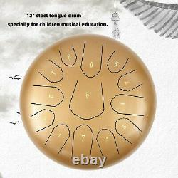 12 Steel Tongue Drum Handpan 13 Notes Gold Meditation with Bag Music Book GB