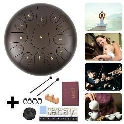 12 Steel Tongue Drum Handpan Drum 13 Notes Brown Meditation with Bag Music Bk