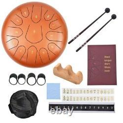 12 Steel Tongue Drum Handpan Drum 13 Notes Meditation With Bag Music Book Orange