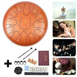 12 Steel Tongue Drum Handpan Drum 13 Notes Orange Meditation With Bag Music Book