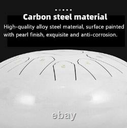 12 Steel Tongue Drum Handpan Drum 13 Notes White Meditation with Bag Book F2