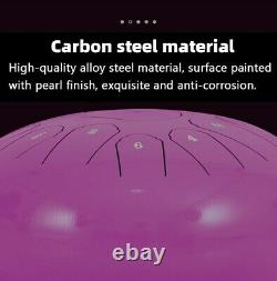 12 Steel Tongue Handpan Drum 13 Notes Purple Meditation With Bag Music Book GB