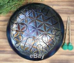 12 Steel Tongue drum FLOWER OF LIFE (tank drum, handpan, hang pan, hank drum)