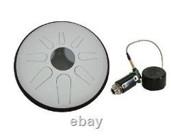 12 Tunable Steel Tongue Drum Glow-in-the-dark White + Pickup