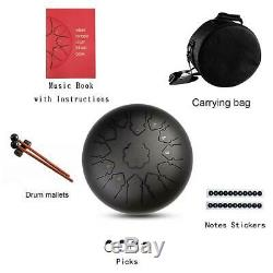 12steel tongue drum & Handpan with C or D musical note and carrying bag+mallets