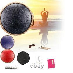 13'' Steel Tongue Drum Handpan Hand Drums Major 15 Notes Tankdrum + Mallets Bag