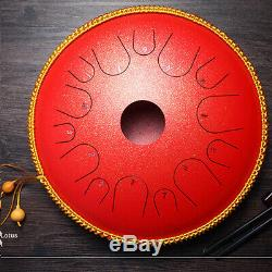 14'' 14 Notes Red Hand Pan Handpan Drum Manual Percussion Steel Tongues Brass