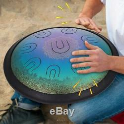 14'' UU Drum Harmonic Handpan D Minor Steel Hand Drum Hand pan Tongues Premium