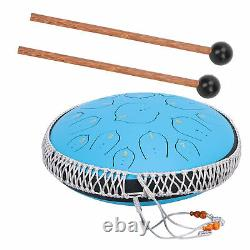 14 inch Steel Tongue Drum D-Key 15 Notes Hand Pan Drum with Accessory Blue