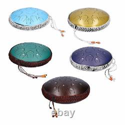 14in 15 Tone D Steel Tongue Drum Hand Pan Percussion Instrument with Bag Mallets
