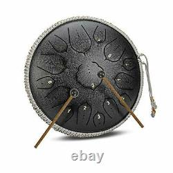 15 Notes 14 Inches Steel Tongue Drum Healing Drum Wide Range Steel Drum Black