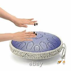 15 Notes 14 Inches Steel Tongue Drum Healing Drum Wide Range Steel Drum Blue