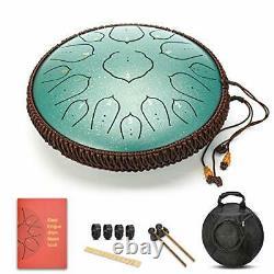 15 Notes 14 Inches Steel Tongue Drum Healing Drum Wide Range Steel Drum Green