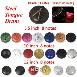 5/10/12'' Steel Tongue Drum 8/11 Notes Handpan Tankdrum Instrument Gifts with Bag
