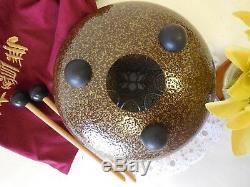 8 Lotus Steel Tongue Drum Chakra Drum Handpan Percussion Drum Hand Tuned Brown