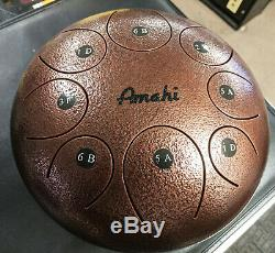 Amahi Steel Tongue Drum 10 Steel Drum Copper withBag & Mallets D Major Pentatonic