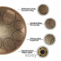 Asmuse Steel Tongue Drum 8 Notes 10 Inch Pan Drum Percussion Steel Drum Instr