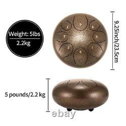 Asmuse Steel Tongue Drum 8 Notes 10 Inch Pan Drum Percussion Steel Drum with and