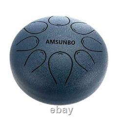 Brand Steel Tongue Drum Blue Chakra 8 inch with Free Blue 8 inch Drum Blue