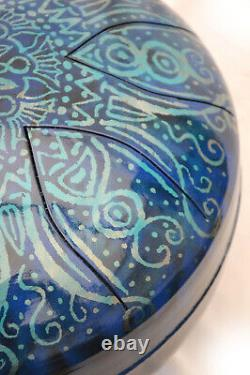 CUSTOMISED steel tongue drum hank handpan 12' (30cm) 528hz LOVE handmade in UK