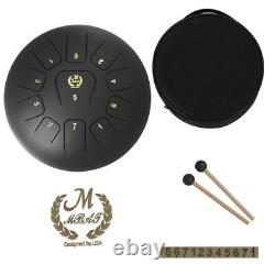 Exquisite Steel 12inch 11-Notes Lotus Tongue Drum Hand Percussion Black
