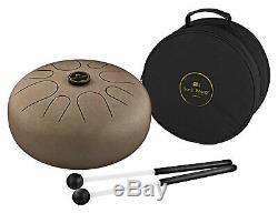 Fabelhafte Steel Tongue Drum A-Moll mit 2 Gummi-Schlegeln & Gigbag Vintage Brown