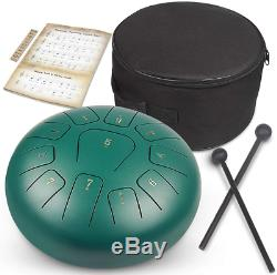 GUNAI 10 Inch Steel Tongue Drum in D Key Hand Drum 11 Tones Percussion with Drum