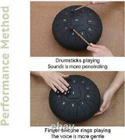 GUNAI Steel Tongue Drum 12 Inch 11-Tone C Key Pan Drum Percussion Instrument wit