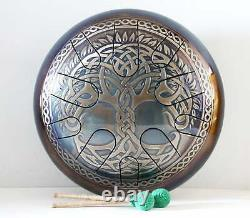 Handmade UFO Drum Steel tongue with CELTIC TREE OF LIFE Hand drum 12 was $370