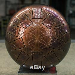 Handmade metal steel tongue drum (Tank drum) 12 inch (30 cm). Tonality'C hijaz