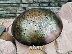 Handpan Steel Tongue Tank Drum Flower of Life Sacred Geometry Sound Healing