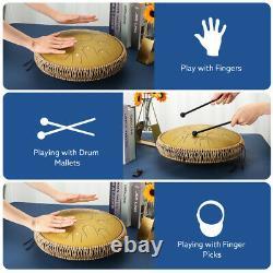 Handpan Ulalov Padded Steel Tongue Drum for Finger Gift 15 Notes Mallets Picks