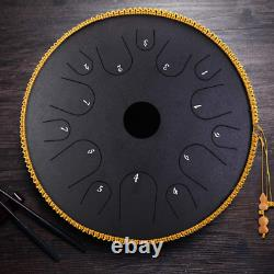 KKTECT 14 Notes Steel Tongue Drum, 14 inch Hand Pan Drum with Mallets, Textbook