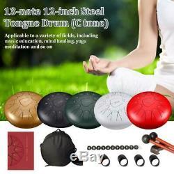Kit Finger Mallets+ Tongue Steel Drum 13-note +1Pair Sleeve Drum Handpan 12-inch