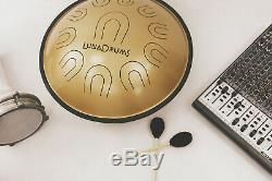 LunaDrum Chandra 17 scale B Integral handpan hank, tank, steel tongue drum
