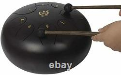 Muslady 10inch Steel Tongue Drum Percussion Instrument Hand Pan Drum Drum Malle