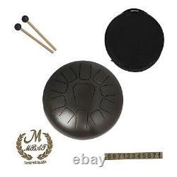 Muslady 12 Inch Steel Tongue Drum 11-Tone Hand Pan Drum Stainless Steel Percu