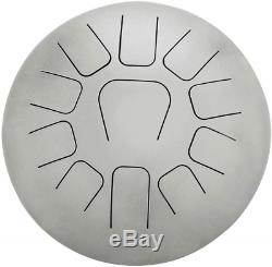Muslady 12 Inch Steel Tongue Drum 11-Tone Hand Pan Drum Stainless Steel with