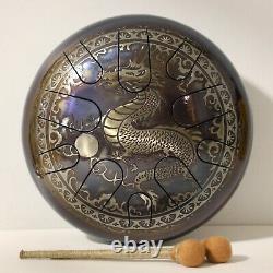 ORIENTAL DRAGON 12 Steel Tongue drum (tank drum, handpan, hand pan, hank drum)