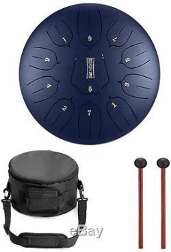 RUNMIND 12 Inch Steel Tongue Drum Handpan Hand Drums Major 11 Notes Tankdrum Bag