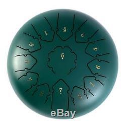 SU Steel Tongue Drum 12 13 Notes Handpan Drum Instrument Drum Blackish green