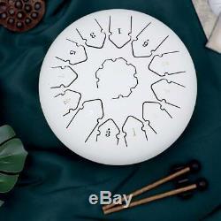 SU Steel Tongue Drum 12 13 Notes Percussion Handpan Drum Instrument Drum White