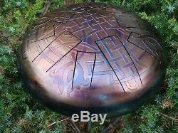 Sacred Geometry 12 20 notes Two-sided steel tongue drum Tankdrum handpan